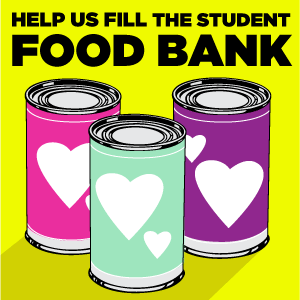 Help us fill the MSU Student Food Bank banner with cans