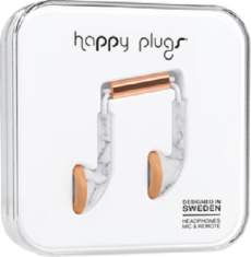 Happy Plugs Earbuds with Mic White Marble Rose