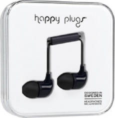 Happy Plugs In-Ear Earbuds with Mic Black